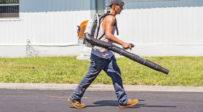 man-in-white-tank-top-and-blue-denim-pants-with-leaf-blower-162564